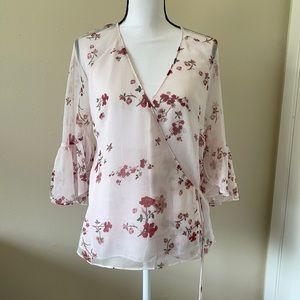 Lauren Ralph Lauren pink floral Georgette Wrap top